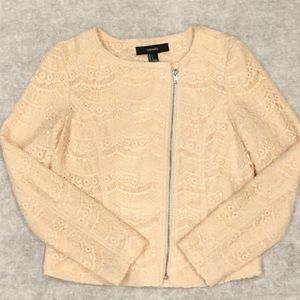 Cream Floral Lace Asymmetric Zip Moto Jacket